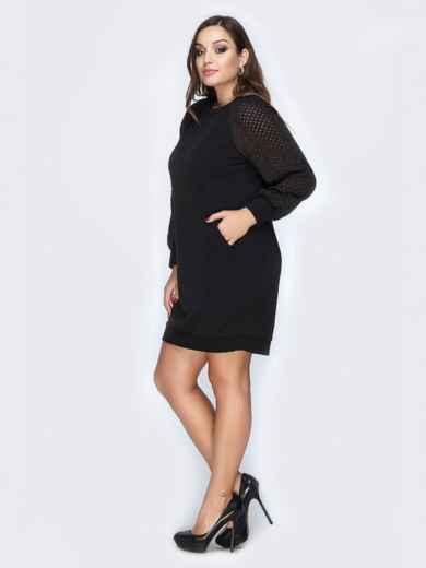 Черное платье из ангоры и перфорацией на рукавах - 19160, фото 2 – интернет-магазин Dressa