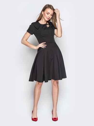 Чёрное платье с фигурным воротником и юбкой-клёш 20438, фото 1