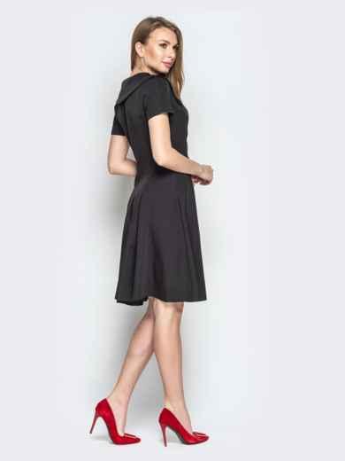 Чёрное платье с фигурным воротником и юбкой-клёш 20438, фото 2