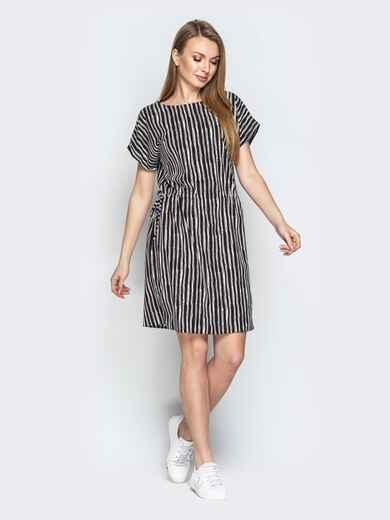 Чёрное платье в полоску с кулиской по талии - 20815, фото 1 – интернет-магазин Dressa