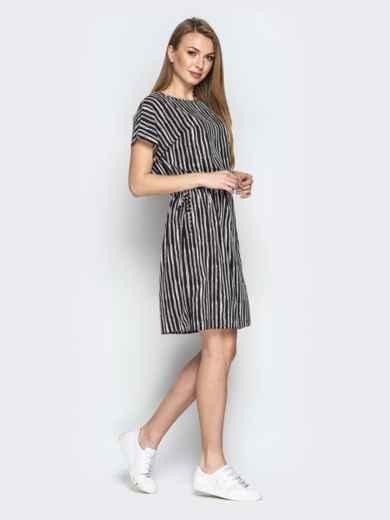 Чёрное платье в полоску с кулиской по талии - 20815, фото 2 – интернет-магазин Dressa