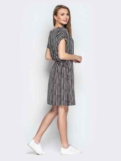 Чёрное платье в полоску с кулиской по талии - 20815, фото 3 – интернет-магазин Dressa