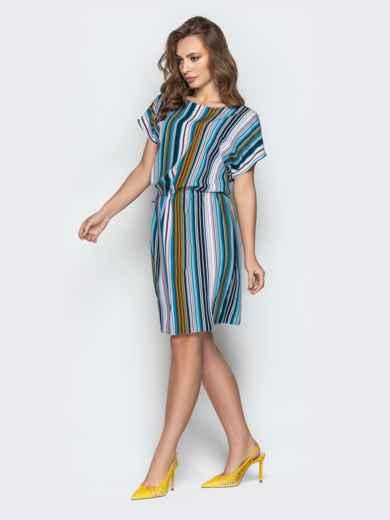 Голубое платье в полоску с кулиской по талии - 20813, фото 2 – интернет-магазин Dressa