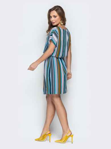 Голубое платье в полоску с кулиской по талии - 20813, фото 3 – интернет-магазин Dressa