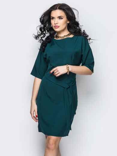 Платье из костюмной ткани с цельнокроеным рукавом зелёное - 13826, фото 1 – интернет-магазин Dressa