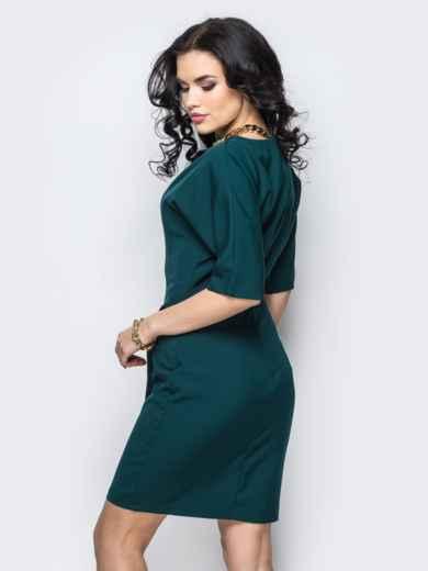 Платье из костюмной ткани с цельнокроеным рукавом зелёное - 13826, фото 2 – интернет-магазин Dressa