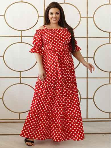 Платье-макси большого размера в горох красное 47935, фото 1