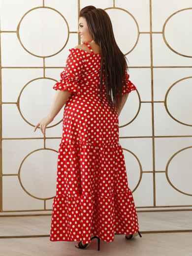 Платье-макси большого размера в горох красное 47935, фото 2