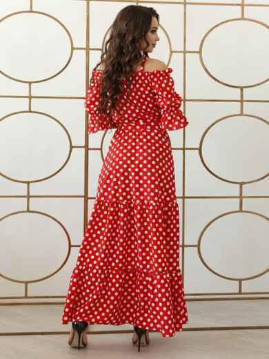 Платье-макси большого размера в горох красное 47935, фото 3