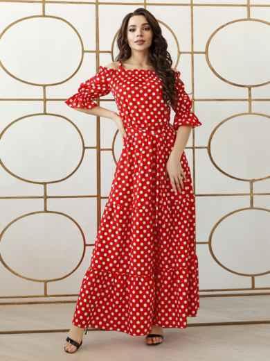 Платье-макси большого размера в горох красное 47935, фото 4