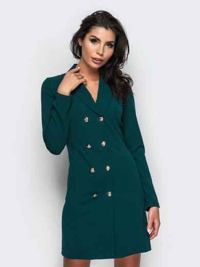 Платье-пиджак с функциональными пуговицами зелёное - 16479, фото 1 – интернет-магазин Dressa
