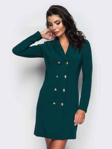 Платье-пиджак с функциональными пуговицами зелёное - 16479, фото 2 – интернет-магазин Dressa