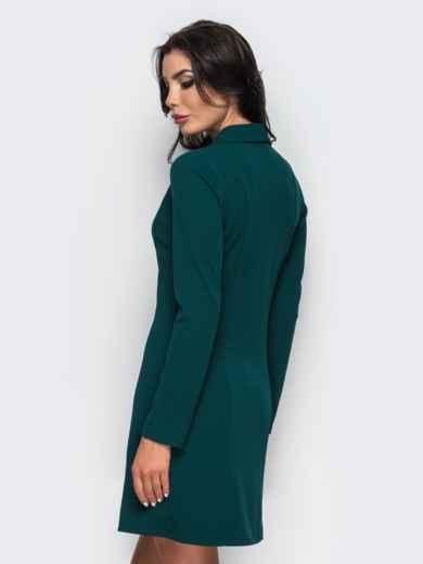 Платье-пиджак с функциональными пуговицами зелёное - 16479, фото 3 – интернет-магазин Dressa