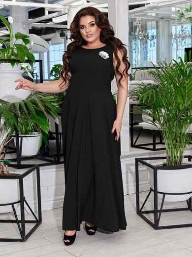Приталенное платье-макси большого размера чёрное 47692, фото 1