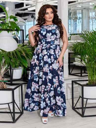 Приталенное платье-макси большого размера с принтом тёмно-синее 47693, фото 1