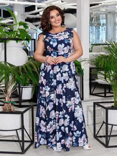 Приталенное платье-макси большого размера с принтом тёмно-синее 47693, фото 2