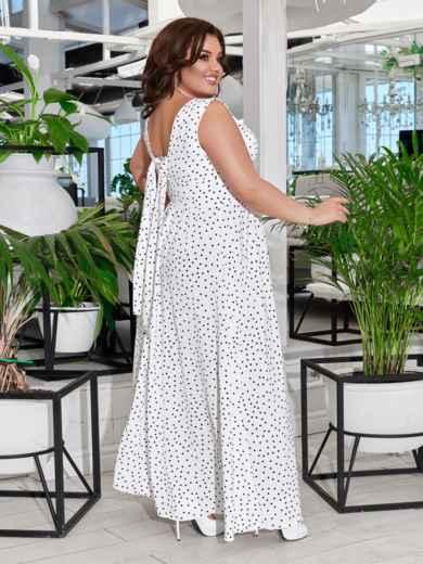 Приталенное платье-макси большого размера в горох белое 47695, фото 2