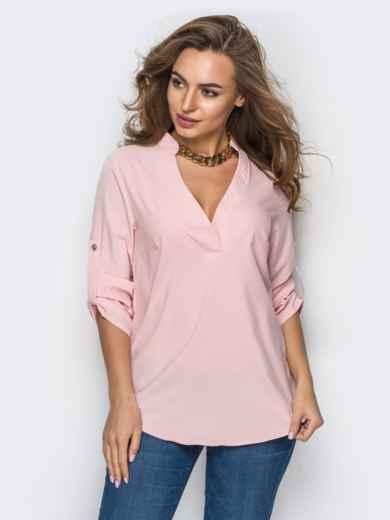 Розовая блузка свободного кроя с открытой планкой 10171, фото 1