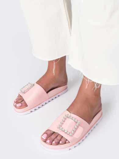 Розовые шлепанцы с белой рельефной подошвой  49747, фото 3