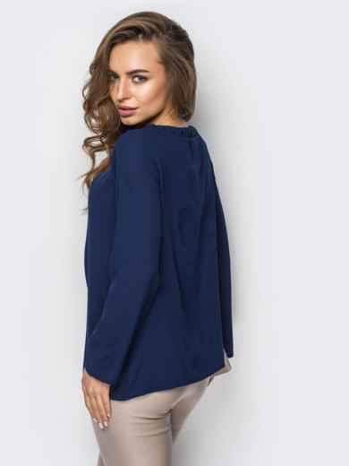 Тёмно-синяя блузка свободного кроя со складками по горловине - 12307, фото 3 – интернет-магазин Dressa