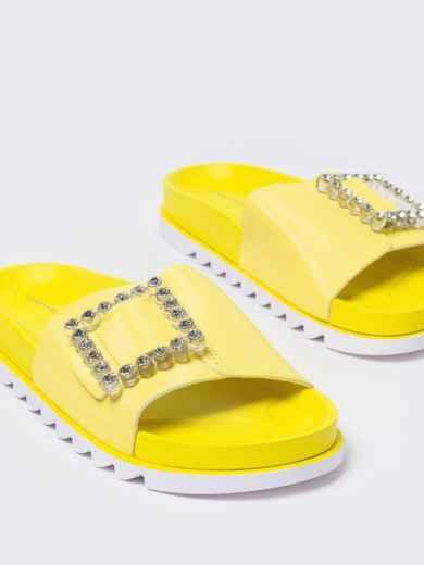 Желтые  шлепанцы с белой рельефной подошвой  - 49748, фото 4 – интернет-магазин Dressa