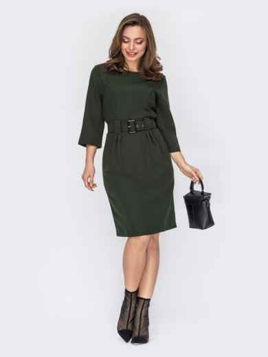 Платье-миди приталенного кроя хаки 53160, фото 1