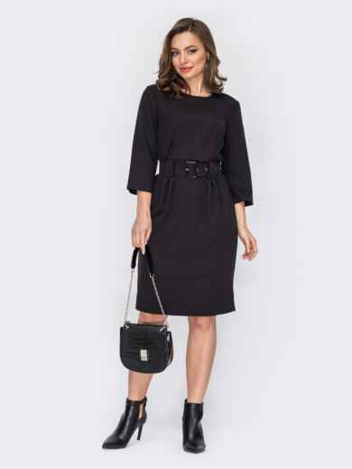 Платье-миди приталенного кроя черное 53161, фото 1