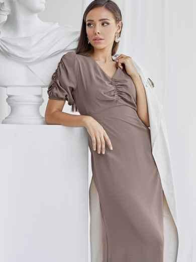 Приталенное платье бежевого цвета с V-образным вырезом 50051, фото 1