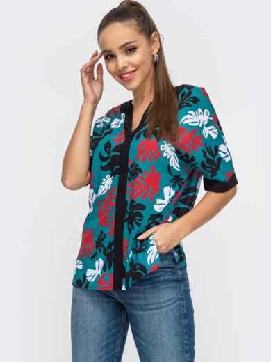 Бирюзовая блузка с принтом и V-образным вырезом 50637, фото 1