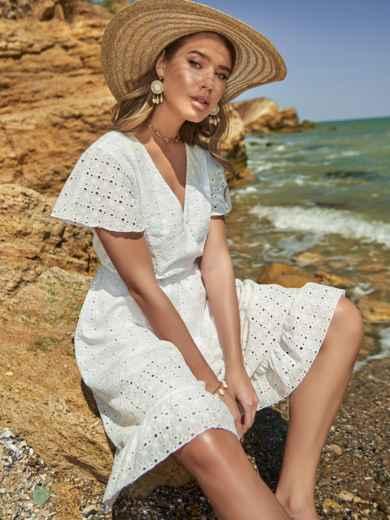 Белое платье из прошвы с резинкой по талии - 48229, фото 2 – интернет-магазин Dressa