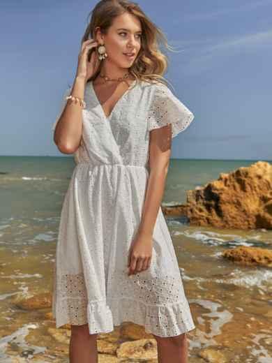 Белое платье из прошвы с резинкой по талии - 48229, фото 3 – интернет-магазин Dressa