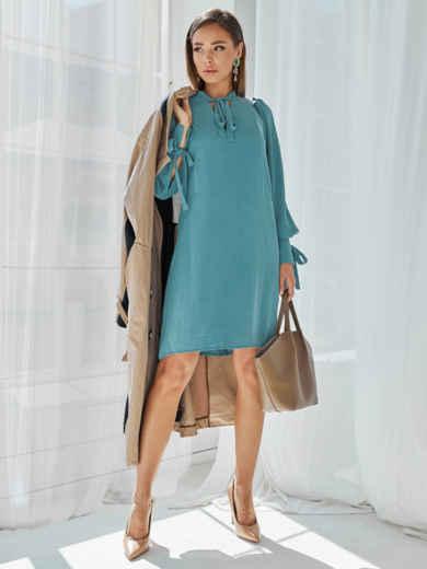 Бирюзовое платье-трапеция с воротником-аскот 50057, фото 3