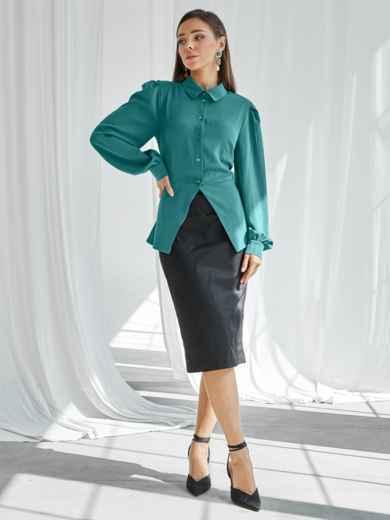 Бирюзовый комплект из блузки с баской и юбки 50058, фото 2