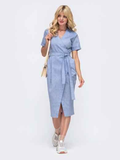 Голубое платье на запах из льна с объемными карманами 50054, фото 1