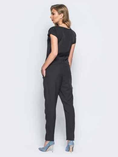 Комбинезон черного цвета с поясом в комплекте - 17846, фото 2 – интернет-магазин Dressa