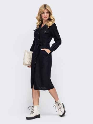 Льняное платье-рубашка чёрного цвета со шлевками на рукавах 50052, фото 1