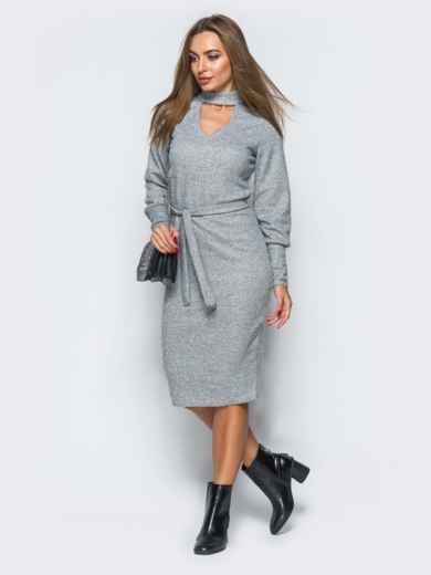 Платье серого цвета с чокером - 17358, фото 2 – интернет-магазин Dressa