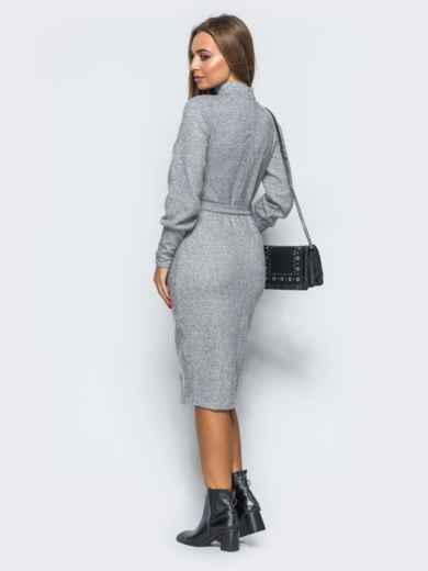 Платье серого цвета с чокером - 17358, фото 3 – интернет-магазин Dressa