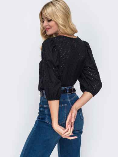 Прямая блузка из прошвы с объемными рукавами чёрная 50061, фото 3