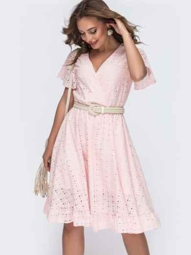 Пудровое платье из прошвы с резинкой по талии 48230, фото 1