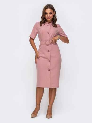 Розовое платье-рубашка приталенного кроя с воротником-стойкой 50050, фото 1