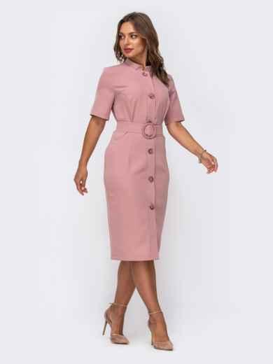 Розовое платье-рубашка приталенного кроя с воротником-стойкой 50050, фото 2