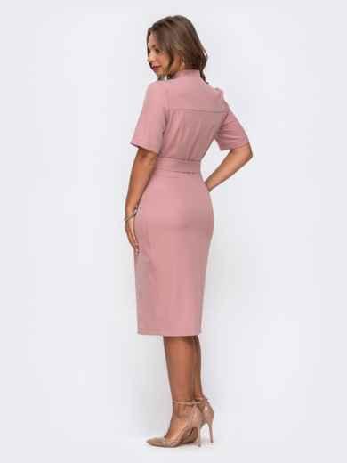 Розовое платье-рубашка приталенного кроя с воротником-стойкой 50050, фото 3
