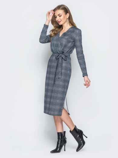 Серое платье в клетку с фиксированным запахом - 18778, фото 2 – интернет-магазин Dressa