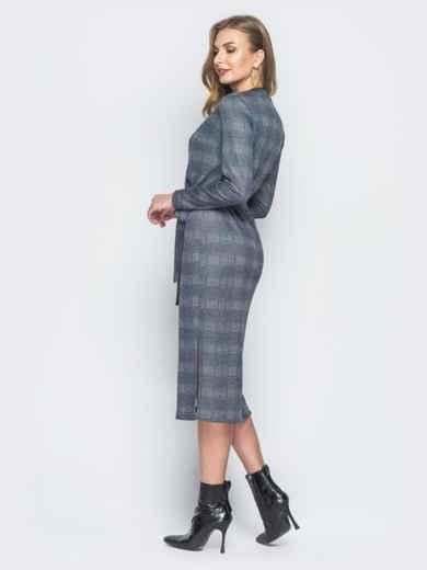 Серое платье в клетку с фиксированным запахом - 18778, фото 3 – интернет-магазин Dressa