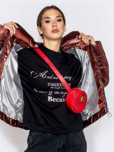 Стёганая куртка с накладными карманами коричневая - 40730, фото 3 – интернет-магазин Dressa