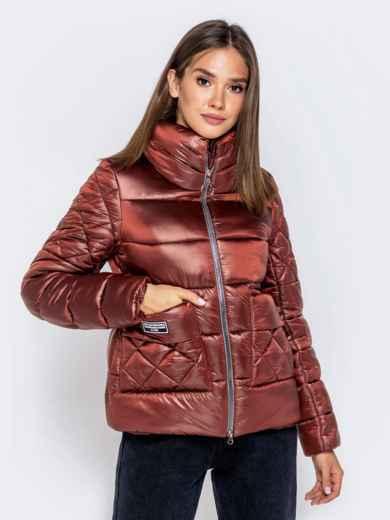 Стёганая куртка с накладными карманами коричневая - 40730, фото 4 – интернет-магазин Dressa
