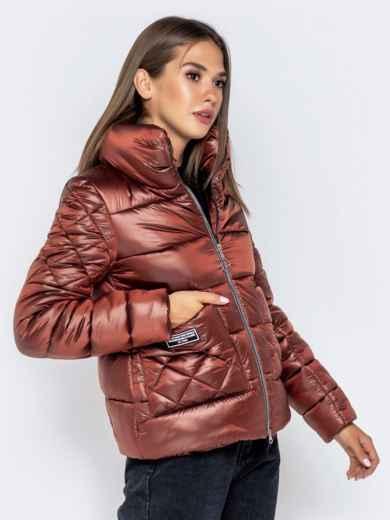 Стёганая куртка с накладными карманами коричневая - 40730, фото 5 – интернет-магазин Dressa