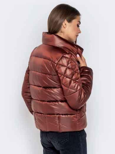 Стёганая куртка с накладными карманами коричневая - 40730, фото 6 – интернет-магазин Dressa