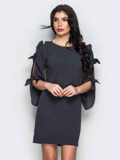 Тёмно-серое платье с завязками на рукавах - 13518, фото 2 – интернет-магазин Dressa